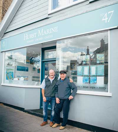 Jason and Sean outside the Hurst Marine shop in Milford  on Sea